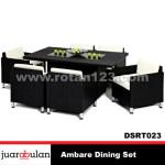 Ambare Dining Set Meja Makan Rotan Sintetis DSRT023