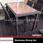 Barbodas Dining Set Meja Makan Rotan Sintetis DSRT020