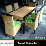 Brunei Dining Set Meja Makan Rotan Alami DSRT018