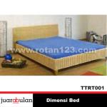 Dimensi Bed Tempat Tidur Rotan Alami TTRT001