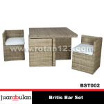 Britis Bar Set Kursi Meja Bar Rotan alami KRT002