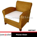 Floren Single Chair Kursi Rotan Alami KRT007