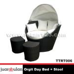 Orgit Day Bed + Stool Tempat Tidur Rotan Sintetis TTRT006
